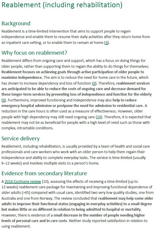 Reablement summary